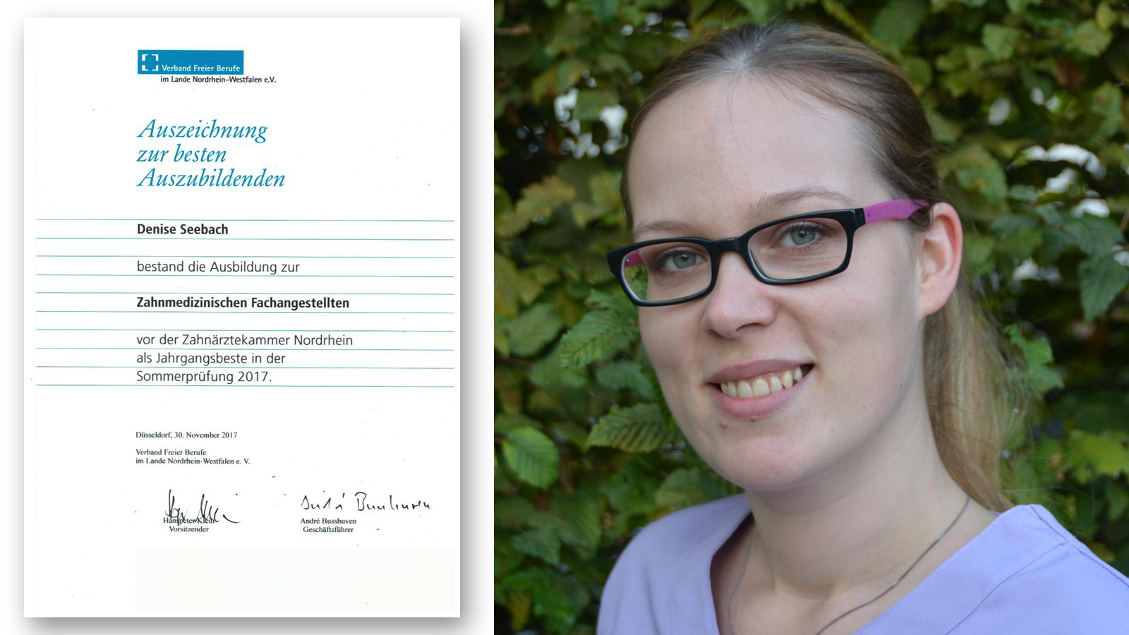 Zahnarzt Sankt Augustin ++ Denise Seebach ausgezeichnet